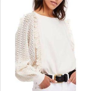 Free People Faff & Fringe Blouson Sleeve Sweater L